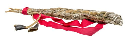 Tied bundle of white sage for smudging in the esoteric Indian area isolated on white. Isolated on white stock photos