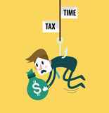 Tied Business Man with tax fishing hook. Royalty Free Stock Photo