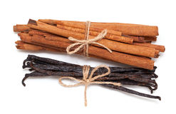 Tied cinnamon and vanilla beans Stock Image