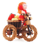 Tied doll on a bicycle. Royalty Free Stock Images