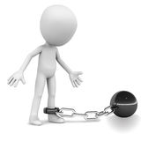 Tied down prisoner. A prisoner tied down the a iron ball chained to his feet, little man worried about how to get loose Royalty Free Stock Photo