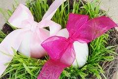 Tied Easter Eggs and Grass in Basket Stock Photo
