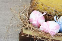 Tied Easter Eggs In Vintage Box Close Royalty Free Stock Photography