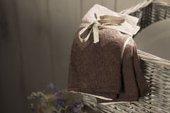 Tied Gradient Brown Linen on Wicker Basket Stock Photography
