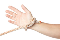 Tied hand on a white background. Royalty Free Stock Photos