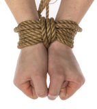 Tied hands isolated Stock Photo