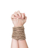 Tied hands, isolated  white Royalty Free Stock Image