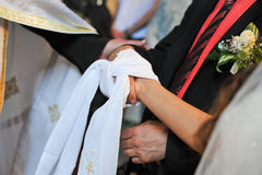 Tied Hands on Wedding Ceremony Royalty Free Stock Photo