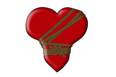 Tied heart with rope on white background stock photos