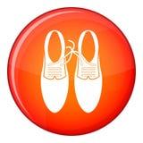 Tied laces on shoes joke icon, flat style Stock Image