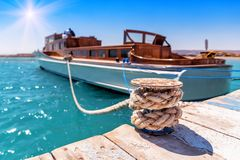 Tied luxurious yacht stock images