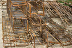 Tied rebar beam cages Royalty Free Stock Images