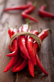 Tied Red Chili Peppers Stock Photography