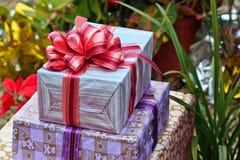 Tied ribbon gift box Stock Image
