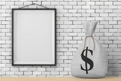 Tied Rustic Canvas Linen Money Sack or Money Bag with Dollar Sig. N in front of Brick Wall with Blank Frame extreme closeup. 3d Rendering Stock Images