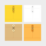 Tied Sealed Letter Envelopes Set  on White Background. Collection of the vector envelope templates. Brown. Yellow and white colors. Top view Royalty Free Stock Photos