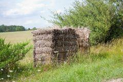 A tied straw bale Stock Image