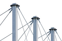 Tied Suspension Roof Cables, Three Tall Grey Isolated Masts Royalty Free Stock Images