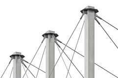 Tied Suspension Roof Cables, Three Tall Grey  Masts, Cable-suspended Swooping Rooftop Pylon Anchors, Large Detailed Stock Photography