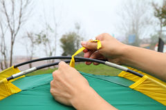 Tied the tent rope with tent pole Stock Photography