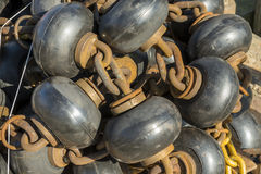 Tied together rusted fishnet reinforcements stock images