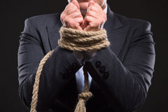 Tied up hands with rope Stock Images
