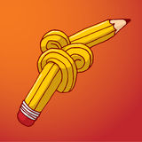 Tied up pencil with complex knot Stock Photography