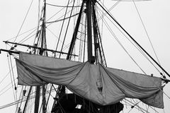 Tied up sail. A large sailboat, detail on the sail and rigging Stock Image