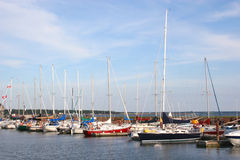 Tied Up Sailboats. Sailboats tied up at the yacht club stock images