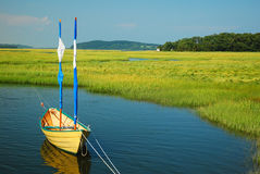 Tied up in a Salt Marsh Stock Photography