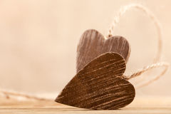Tied wooden hearts free standing Royalty Free Stock Images