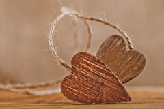 Tied wooden hearts, free standing Royalty Free Stock Image