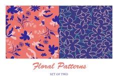 Tiefe blaue Blumenmuster Stockbilder