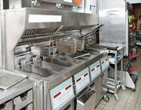 Tiefe Bratpfanne mit auf Gaststätteküche lizenzfreie stockfotografie