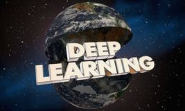 Tiefe Lernenillustration des planeten-Erdweltwort-3d Lizenzfreie Stockbilder