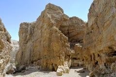 Tiefe Schlucht in Judea-Wüste. lizenzfreies stockbild