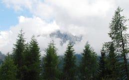 Tiefe Wolke über Karnische Alpen nahe Sauris Stockfotos