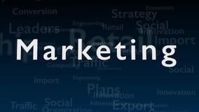 Tiefer blauer Hintergrund mit Themawörtern, die Marketing beschäftigen Das mutige Wort wird in der Mitte von aufgestellt lizenzfreie abbildung