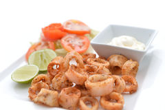 Tiefer Fried Calamari Rings Lizenzfreies Stockfoto