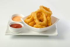 Tiefer Fried Calamari Rings stockbild
