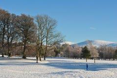 Tiefer Schnee auf einem Golfplatz Lizenzfreies Stockfoto