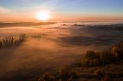 Tiefer starker Nebel im Tal Lange Schatten von den Bäumen Atmosphärische schöne Dämmerung Luftbrummenfoto Erstaunliche Stimmung lizenzfreies stockbild