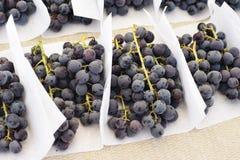 Tiefpurpurne frische Trauben auf einem Landwirt-Markt-Stand stockfotos
