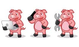Tiefrosa Schwein-Maskottchen mit Telefon Stockfoto