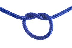 Tieing the knot. A blue rope with a knot being tied on white background Stock Photos