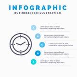 Tiempo, contador de tiempo, compás, pasos azules de la plantilla 5 de Infographics de la máquina L?nea plantilla del vector del i stock de ilustración