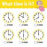 Tiempo de aprendizaje en el reloj Hoja de trabajo de la actividad educativa para los niños y los niños Juego para los niños Vecto ilustración del vector