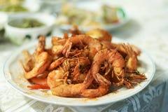 tiempo de cena frito del camarón Foto de archivo