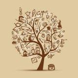Tiempo de Cofee. Árbol del arte para su diseño Imagen de archivo libre de regalías