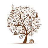 Tiempo de Cofee. Árbol del arte para su diseño Imágenes de archivo libres de regalías